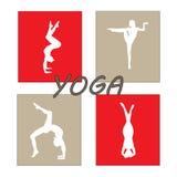 Silhouet jonge vrouw het praktizeren yoga Meisje pilates Vector op abstracte achtergrond Royalty-vrije Stock Foto