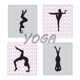 Silhouet jonge vrouw het praktizeren yoga Meisje pilates Vector op abstracte achtergrond stock illustratie