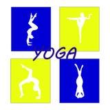 Silhouet jonge vrouw het praktizeren yoga Meisje pilates Vector op abstracte achtergrond Stock Afbeelding