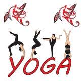 Silhouet jonge vrouw het praktizeren yoga Meisje pilates Vector op abstracte achtergrond Royalty-vrije Stock Fotografie