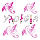 Silhouet jonge vrouw het praktizeren yoga Meisje pilates Vector op abstracte achtergrond royalty-vrije illustratie