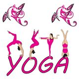 Silhouet jonge vrouw het praktizeren yoga Meisje pilates Vector op abstracte achtergrond Stock Foto's