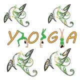 Silhouet jonge vrouw het praktizeren yoga Meisje pilates Vector op abstracte achtergrond vector illustratie