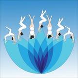 Silhouet jonge vrouw het praktizeren yoga Meisje pilates Vector op abstracte lotusbloem als achtergrond Stock Foto's