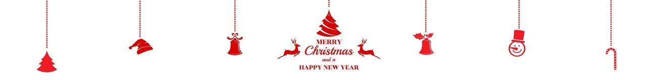 Silhouet Kerstmisornamenten die rood geïsoleerde achtergrond hangen Royalty-vrije Stock Afbeelding