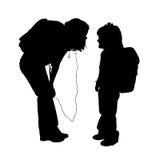 Silhouet met het Knippen van Weg van Meisjes Stock Afbeelding