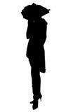 Silhouet met het Knippen van Weg van Vrouw in Hoed Royalty-vrije Stock Fotografie