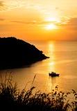 Silhouet met kleur van de zonsondergang Royalty-vrije Stock Foto