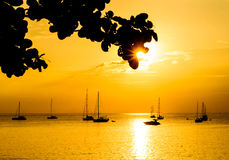 Silhouet met kleur van de zonsondergang, Phuket Thailand Stock Foto