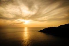 Silhouet met kleur van de zonsondergang, Phuket Thailand Royalty-vrije Stock Fotografie