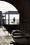 Silhouet met zeegezicht Vijf land stock foto's