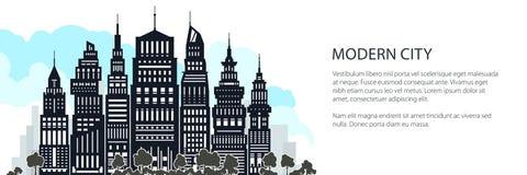 Silhouet Moderne Grote Stad, Banner royalty-vrije illustratie
