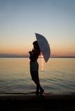 Silhouet op de zonsondergang stock foto