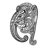 Silhouet op een witte achtergrond Ganeshahand getrokken illustratie Stock Afbeelding
