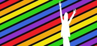 Silhouet op kleurrijke achtergrond Royalty-vrije Stock Foto