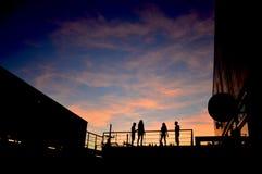 Silhouet tegen de hemel Stock Foto's