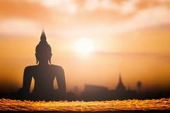 Silhouet Thaise Budha Royalty-vrije Stock Afbeeldingen