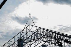 Silhouet van in aanbouw de bouw Stock Afbeeldingen
