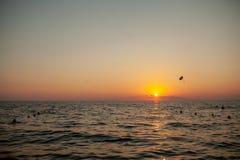 Silhouet van aangedreven glijscherm stijgende vlucht over het overzees tegen prachtige oranje zonsonderganghemel stock afbeelding