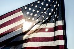 Silhouet van Amerikaanse Vlag Royalty-vrije Stock Foto