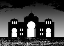 Silhouet van Arabische gebouwen, overzees, wolken vector illustratie