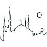 Silhouet van Arabische stad met moskee Stock Foto's