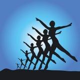 Silhouet van balletdansers Royalty-vrije Stock Afbeeldingen