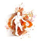 Silhouet van basketbalspeler op waterverfachtergrond Stock Foto