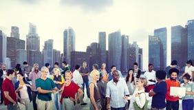 Silhouet van Bedrijfsmensen die Grafische Informatie ontmoeten Stock Afbeeldingen
