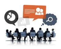 Silhouet van Bedrijfsmensen die Groepswerk bespreken Royalty-vrije Stock Fotografie
