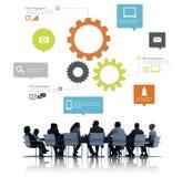 Silhouet van Bedrijfsmensen in een Vergadering Stock Afbeeldingen