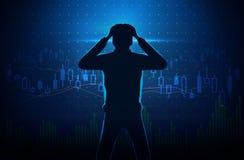 Silhouet van beklemtoonde investeerder op het conceptenachtergrond van de voorraadgrafiek stock illustratie