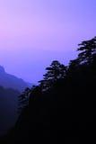 Silhouet van berg Huang Royalty-vrije Stock Foto's