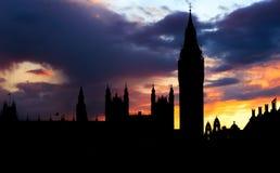 Silhouet van Big Ben, Londen Stock Foto