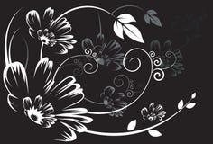 Silhouet van Bloemenontwerpen Stock Fotografie