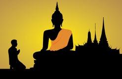 Silhouet van Boedha stock illustratie