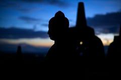 Silhouet van Boedha Stock Afbeelding