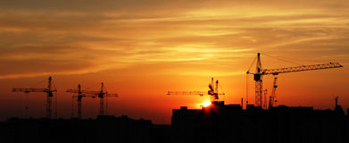 Silhouet van bouw Royalty-vrije Stock Foto
