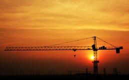 Silhouet van bouwwerf Stock Afbeeldingen