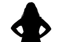 Silhouet van boze vrouw Stock Foto's