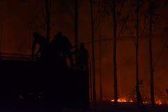 Silhouet van Brandweerlieden die een vuurzee bestrijden Stock Afbeeldingen