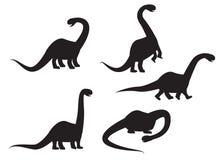 Silhouet van Brontosaurus-dinosaurusvector Stock Afbeeldingen