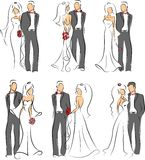 Silhouet van bruid en bruidegom, achtergrond Stock Foto