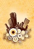 Silhouet van bruine stad. vector illustratie