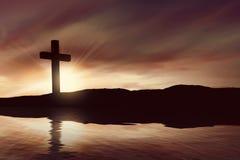 Silhouet van Christelijk kruis royalty-vrije stock afbeelding