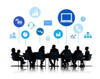 Silhouet van Commerciële Vergadering met Infographic Royalty-vrije Stock Foto's