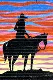 Silhouet van cowboy Stock Fotografie
