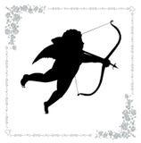 Silhouet van cupid met een pijl Stock Afbeelding