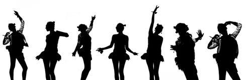 Silhouet van dansend meisje Royalty-vrije Stock Afbeelding