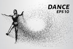 Silhouet van dansende deeltjes De dans bestaat uit kleine cirkels Vector illustratie Royalty-vrije Stock Fotografie